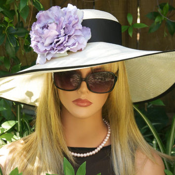 Wide Brim Kentucky Derby Hat. Wedding Hat. Church Hat. Ascot Hat, Lavender Cream Hat. Tea Party Hat, Garden Party Hat, ONE-OF-A-KIND