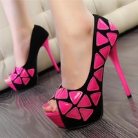 Mixed Color Peep Toe Pumps for Women FGV724