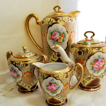 Tea and Coffee Set Moriage Gold and Pink Roses Noritake Japan  1930