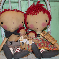 Mother's Day gifts- Family Rules Raggedy Ann and Andy set with two Childen