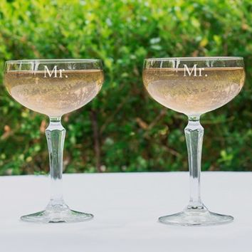 Cathy's Concepts 'For the Couple' Etched Champagne Coupe Toasting Glasses - White (Set of 2)