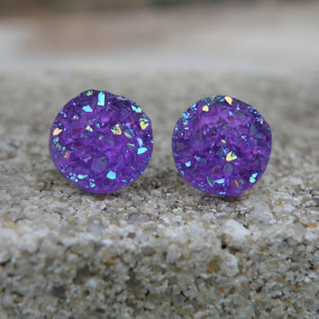 Earrings Druzy Stud Earrings - Boho Jewelry - Purple Druzy 12MM - Glitter Earrings