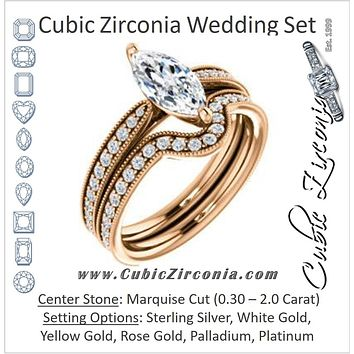 CZ Wedding Set, featuring The Brooklynn engagement ring (Customizable Marquise Cut with Cathedral Setting and Milgrained Pavé Band)