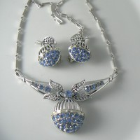 Coro Blue Rhinestone Necklace And Earrings Set