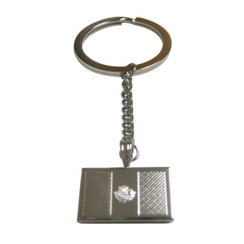 Silver Toned Etched Mexico Flag Pendant Keychain