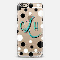 Turquoise Polka Dots Custom Slim Phone Case with Initial