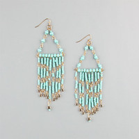 Full Tilt Seed Bead Triangle Dangle Earrings Turquoise One Size For Women 23442424101