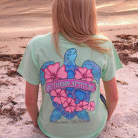 Country Life Outfitters Southern Attitude Snappy Sea Turtle Flower Mint Vintage Girlie Bright T Shirt