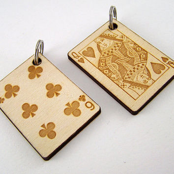 Wood Dog Tag Laser Cut - Playing Card Pet Tag Cat Collar Tag