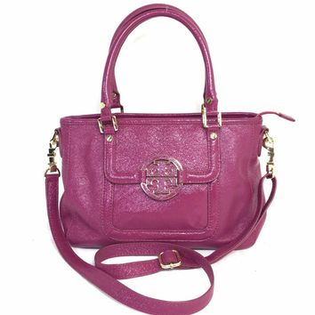TORY BURCH Amanda Mini Satchel in Plum Purple