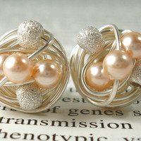 Peach / Silver  Star Dust - Mix It Up Series- Swarovski Glass Pearl and Stardust bead Wire Wrapped Stud Earrings