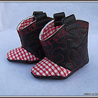 Cowboy Cowgirl Boots Children's Black Faux by AmadiSloanDesigns