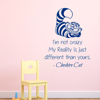 Alice In Wonderland Wall Decals Quotes Cheshire Cat I Am Not Crazy Home Vinyl Decal Sticker Mural Kids Nursery Baby Room Bedding Decor kk823