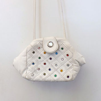 VINTAGE 1980's White Faux Quilted Leather Rhinestone Gem Jeweled Studded Handbag Purse Bag Hipster Glam Punk Rocker Kawaii Tacky Kitsch