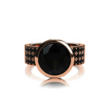 Black Spinel ring, black diamond ring, rose gold engagement, engagement ring, spinel engagement, black, solitaire, bezel, custom, wide ring