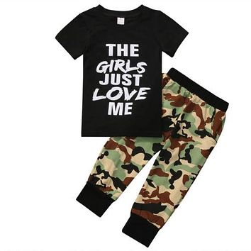 Newborn Toddler Kids Baby Boys T-shirt+Camouflage Pants Outfits Clothes
