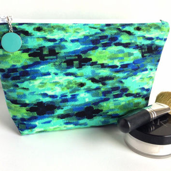 Large Makeup Bag, Large Zipper Pouch, Boho Makeup Bag, Green Cosmetic Case, Sea Green Makeup Bag, Large Pencil Bag, Pencil Pouch