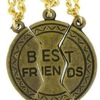"Best Friends. 3-piece Gold Tone Charm 20"" Steel Necklace"