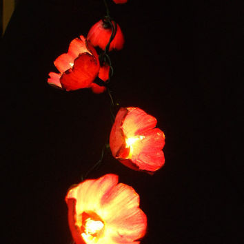Pink Floral String Light 20 Bulb by renewedrelics on Etsy