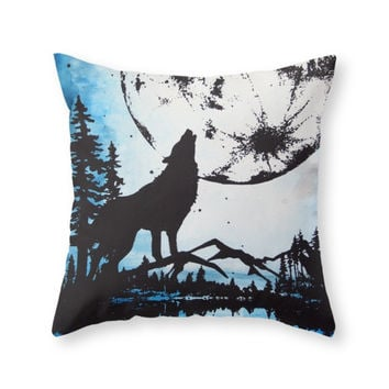 Society6 Moon Wolf Throw Pillow