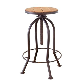 Industrial Adjustable Bar Stool with Recycled Wood ~ Rustic Finish