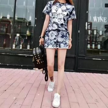 """""""Adidas"""" Fashion Casual Multicolor Letter Print Short Sleeve Shorts Set Two-Piece Sportswear"""