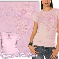 Ladies Support The Cure Pink T-Shirt