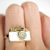 Adjustable Camera Ring in White on Gold - With Rhinestone Detail