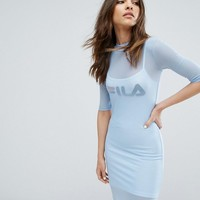 Fila Double Layer Mesh Mini Dress at asos.com
