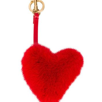 DCCKIN3 Anya Hindmarch Red Fur Heart Bag Charm