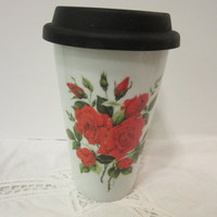 Mug Cup Travel, Red Roses, Coffee Tea Cold or Hot, Porcelain Ceramic Pottery, Hand Painted and Kiln Fired