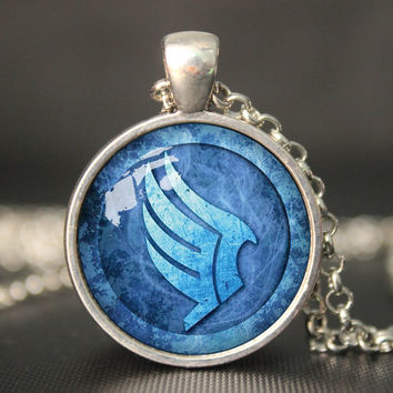 Mass Effect Paragon symbol inspired glass cabochon dome pendant Necklace Mass effect pendant