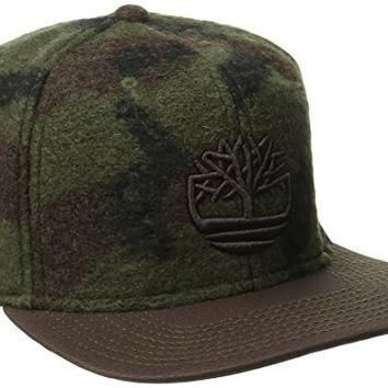 Timberland Men's Wool Blend Camo Flat Brim Cap, Mulch, One Size