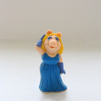 MISS PIGGY pvc figure, Vintage Muppets pvc, Miss Piggy in blue evening gown, Vintage Muppets figure, retro collectible, Collectible toy