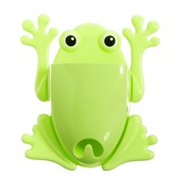 Froggy Frog Shaped Toothbrush Holder Make Up Organizer Bathroom Stand in Green