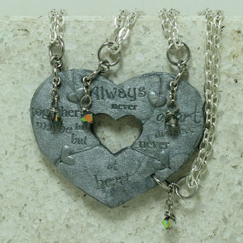 Friendship Pendants Break apart gift for 4 Heart Puzzle pendants Silver polymer clay With Crystals