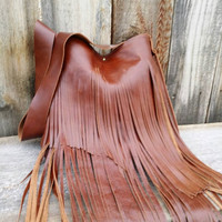Cario Brown Fringed Leather Handbag