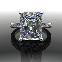 Forever Brilliant Radiant Cut Moissanite and Diamond Engagement Ring 5.5 CTW