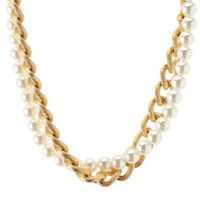 Gold Pearl & Chain Collar Necklace by Charlotte Russe