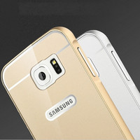 For Samsung S6 Edge Case Ultra Thin 1mm Metal Aluminum Bumper+Acrylic Back Capa Cover For Samsung Galaxy S6 / S6 Edge Shell