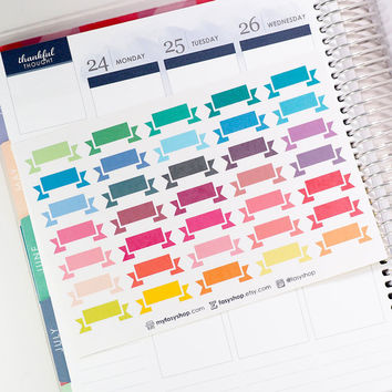 35 SMALL Simple Blank Banners Sticker Planner