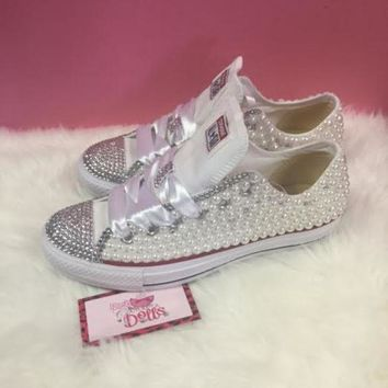 CREYON couture pearl and crystals wedding prom custom converse ed28eed34d