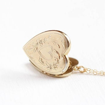 Vintage Heart Locket - WWII 1940 12k Rosy Yellow Gold Filled Necklace - Floral Wreath Repousse Sweetheart Pendant Photograph Picture Jewelry