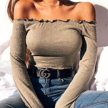 Women Simple Solid Color Frills Off Shoulder Long Sleeve Knitwear Crop Tops