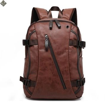 FUSHAN Men Backpacks PU Leather Waterproof Bags 15.6 Inch Laptop Backpack External USB Charge Computer Bag Mochila Feminina