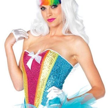DCCKLP2 Rainbow sequin corset with support boning in MULTICOLOR