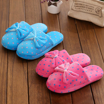 Winter Lovely Butterfly Ladies Home Quiet Anti-skid Slippers [9067742980]
