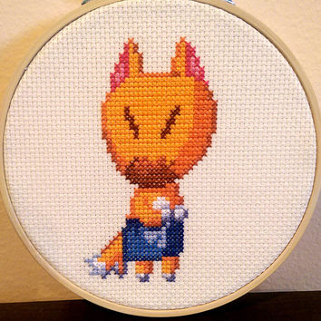 Animal Crossing - framed Crazy Redd cross stitch