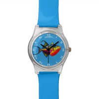 Psychedelic Colorful Triggerfish Fish Drawing Watch