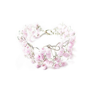 Wire crochet bracelet with Pink beads - silver plated wire, cuff, womens accessory, wire crochet jewelry